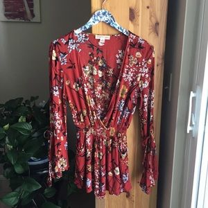 Band of Gypsies Orange Floral Romper, Size XS